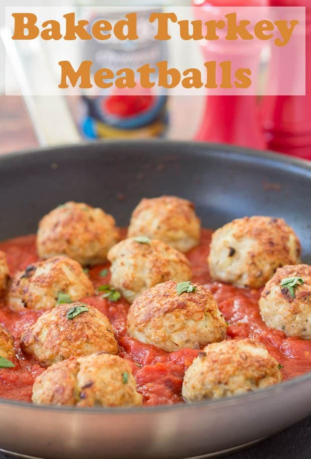 This easy healthy baked turkey meatballs recipe for four can be on the table in just one hour! Made with lean turkey mince it's a great quick healthy meal! #neilshealthymeals #recipe #dinner #baked #turkey #meatballs