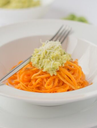 Brussels Sprout Pesto with Spiralized Sweet Potato