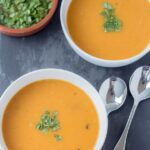 The amazing flavours of this sweet potato garlic and chorizo soup combine to form a deliciously warming winter soup. This low calorie soup is both filling and satisfying.