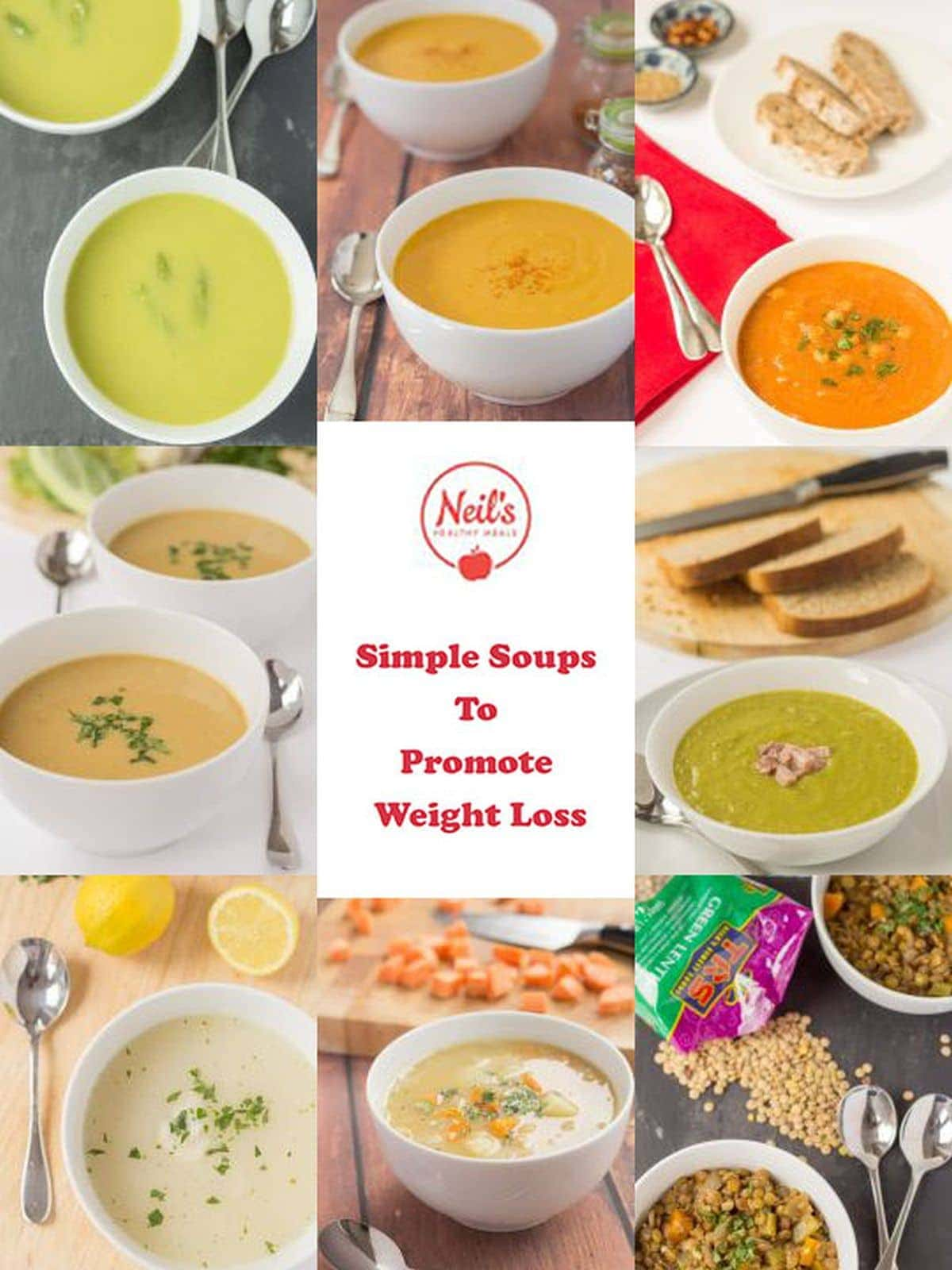Collage of soup pictures that are contained in my free simple soups ecookbook.