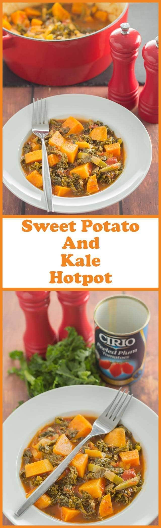 Sweet potato and kale hotpot is a quick, hearty all in one healthy meal. It's perfect for winter as you'll find this low cost vegan stew is packed full of vitamins that help keep colds and flu away! #vegan #glutenfree #paleo #sweetpotato #kale #sweetpotatocasserole