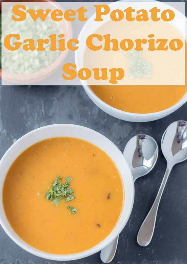 The amazing flavours of this sweet potato garlic and chorizo soup combine to form a deliciously warming winter soup. This simple low calorie soup is both filling and satisfying too! #neilshealthymeals #recipe #sweetpotato #garlic #chorizo #soup