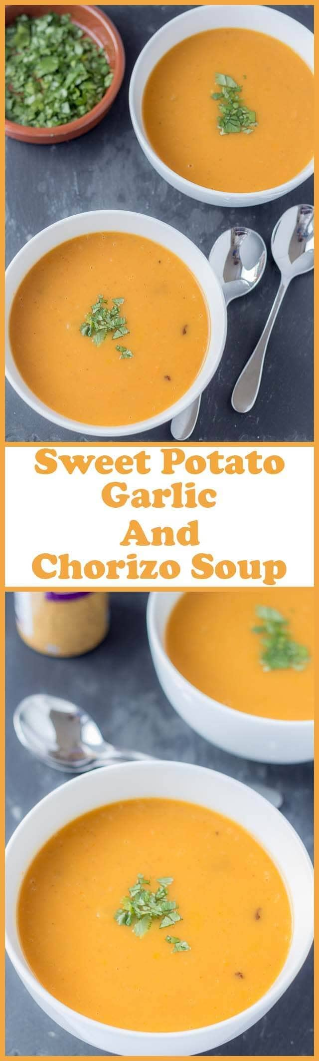 Sweet Potato Garlic and Chorizo Soup - Neils Healthy Meals