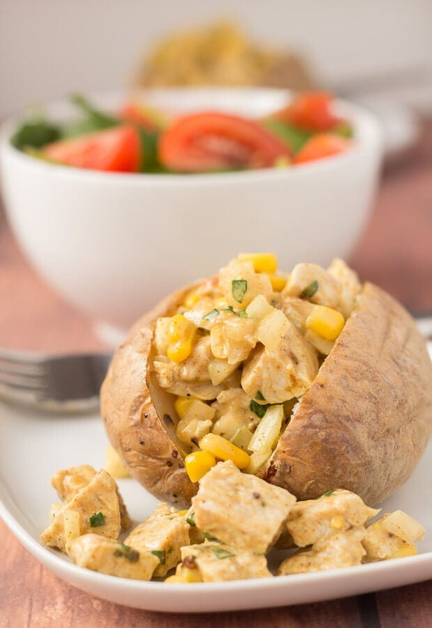 This baked potato with coronation turkey recipe makes for a delicious quick healthy meal. Based on the original coronation chicken classic with fresh and lightly spiced flavours its also a great way of using up leftover turkey too.