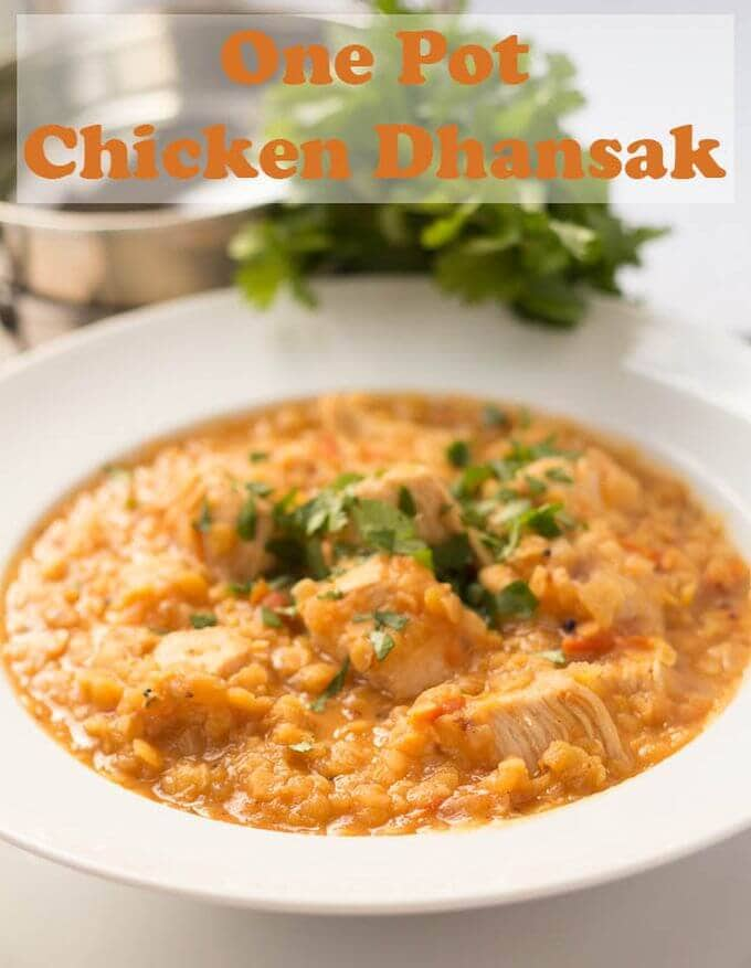 One pot chicken dhansak is a delicious home made lentil curry infused with spices that is so easy to make. Filling and providing a huge amount of your daily protein requirement it also comes in at only 437 calories too! #neilshealthymeals #recipe #curry #dinner #chickencurry #dhansak #dhansakcurry