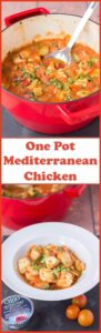 One pot Mediterranean chicken is a delicious, fresh, quick and healthy meal all put together on the stove top. This tasty dish packed full of vegetables is only one hour away from your dinner table!