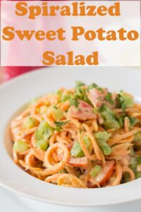 A bowl of spiralized sweet potato salad. Pin title text overlay at top.
