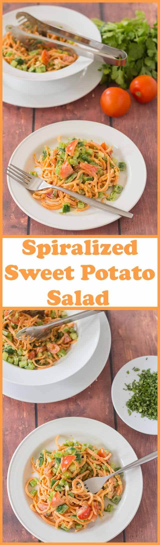 Spiralized sweet potato salad is a simple dish made with a healthier dressing compared to other salad dressing options. It's easy to make, a great way to use up leftovers and can be served as a main course or as a side!