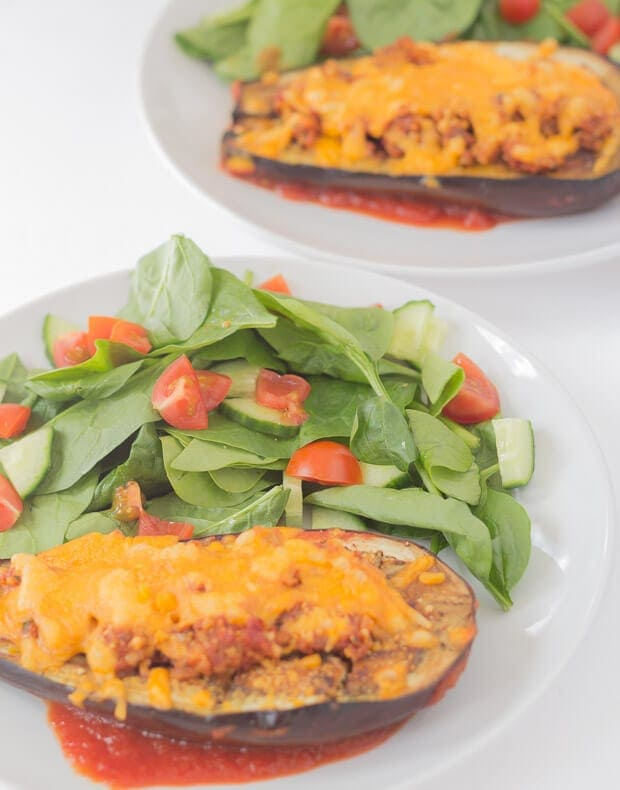 Baked aubergine with red pesto and cheese makes for a fantastic mid-week vegetarian quick healthy meal. The whole family will love this tasty cheesy budget recipe!