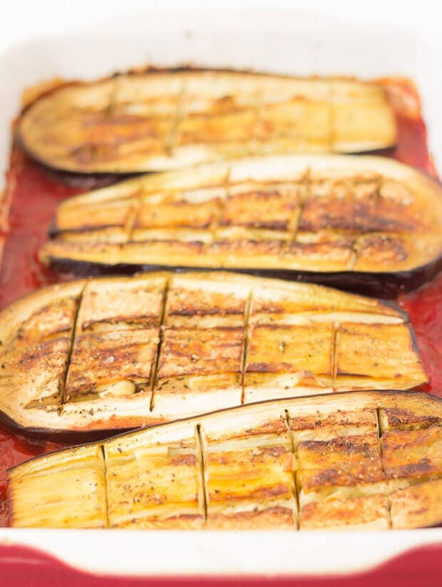 Baked Aubergine With Red Pesto And Cheese - How To Bake Your Aubergine Step 1