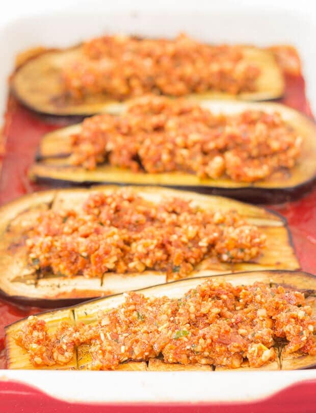 Baked Aubergine With Red Pesto And Cheese - How To Bake Your Aubergine Step 2