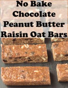 No bake chocolate peanut butter raisin oat bars arranged on a slate.