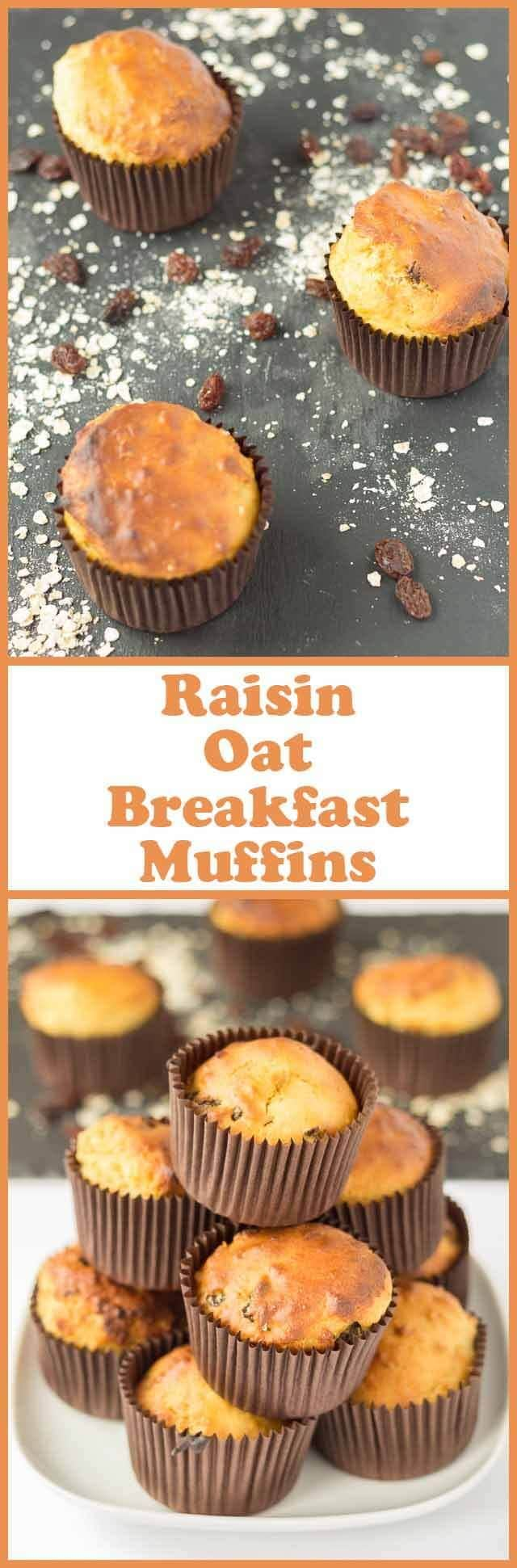Raisin oat breakfast muffins are a great grab and go breakfast. These healthy muffins are made with oats, orange juice, honey, Greek yogurt and raisins. A complete breakfast in one!