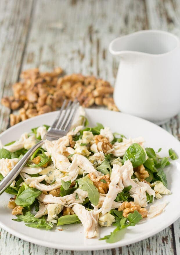 This chicken walnut and blue cheese salad has loads of flavour and a wonderful crunch to go with it too. It's perfect for a really quick and easy lunch or weeknight dinner option!
