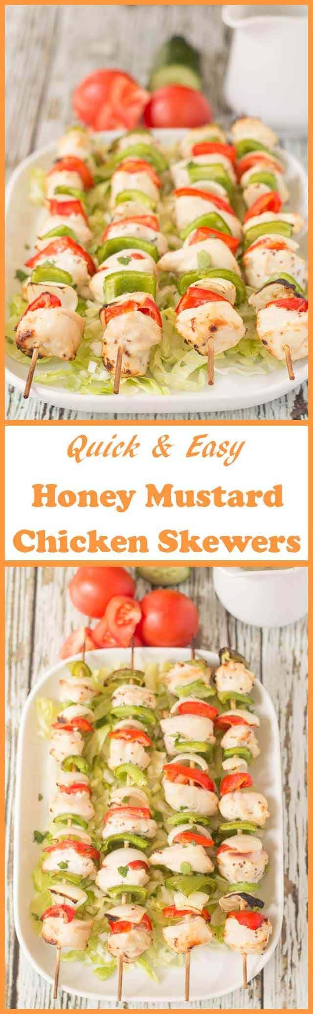 These honey mustard chicken skewers are so easy to make and tasty too. They're grilled in just 25 minutes and are delicious served in wraps with a salad.