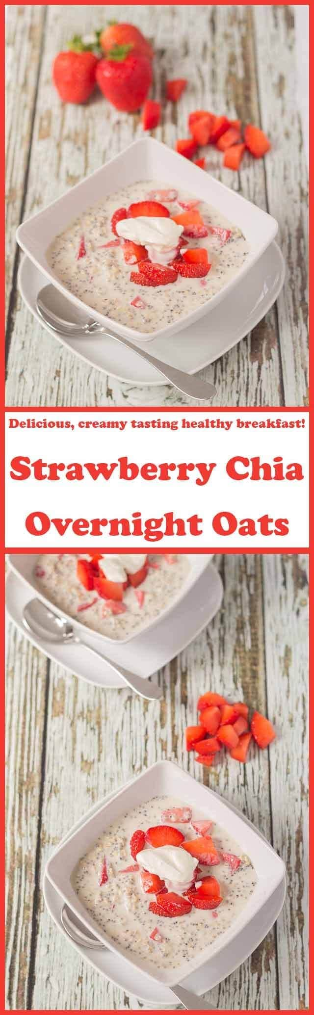 Strawberry chia overnight oats are a delicious, creamy tasting and healthy breakfast option. This sweet tasting, nutritious breakfast will ensure you have a great start to the day and a filling one too!