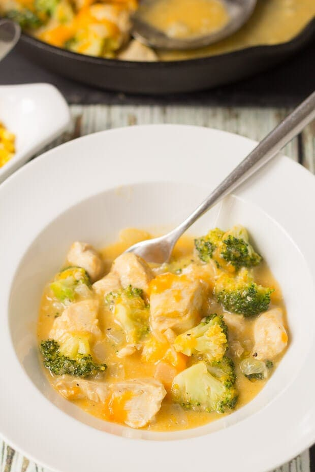 Cheesy chicken and broccoli skillet is a delicious one pan easy recipe. Ready in just 30 minutes then add some rice to make it a perfect quick healthy meal!