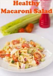 A plate of healthy macaroni salad. Pin title text overlay at top.