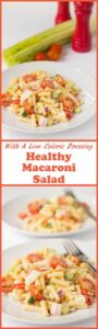 This healthy macaroni salad recipe has all the flavours and creaminess that you would expect from the classic salad but it's made with a lower calorie dressing.