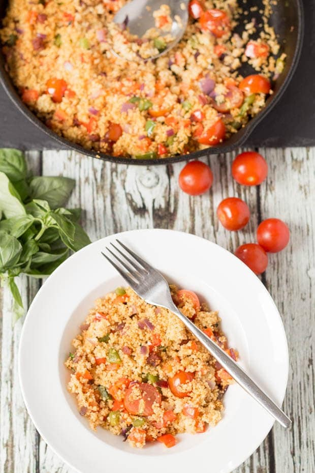 Mediterranean chorizo couscous is a delicious quick healthy budget meal. You'll love the flavours of the smoky sweet lightly toasted couscous. It'll make your taste buds sing!