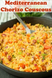 A pan of cooked Mediterranean Chorizo Couscous
