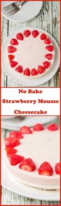 No bake strawberry mousse cheesecake is three layers of delicious fun all rolled into one. A dark chocolate base, a sweet vanilla cream cheese layer and a juicy strawberry mousse topping.