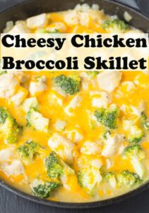 Closeup of a pan of cheesy chicken broccoli skillet.