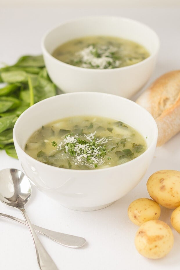 Potato and Spinach Soup is a tasty budget busting bowl of comforting goodness. Creamy tasting but not actually made with any cream therefore it's lower calorie and lower fat too!
