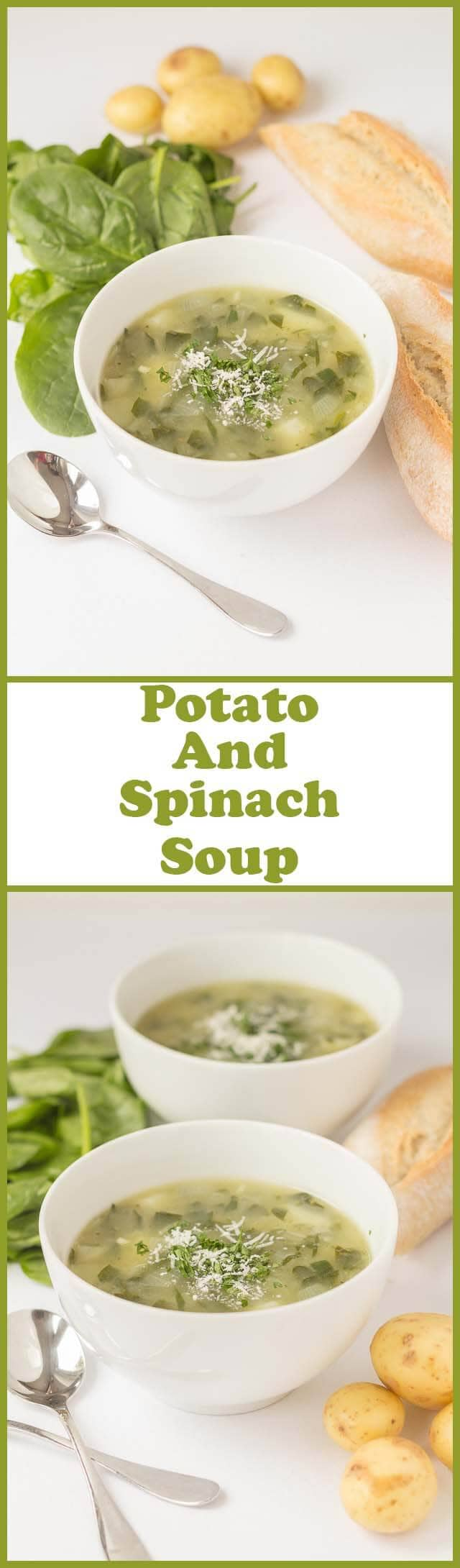Potato and Spinach Soup is a tasty but budget friendly bowl of comforting goodness. Creamy tasting but not made with any cream so it's lower calorie and lower fat too!