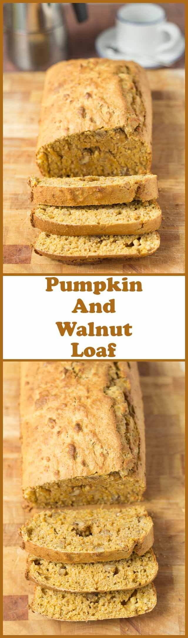 Pumpkin and walnut loaf is adelicious moist pumpkin bread filled with crunchy little pieces of walnut. Made from whole wheat flour this tasty sharing recipe is a healthy way to enjoy pumpkin with friends and family!