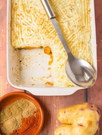 This healthy spiced butternut squash bake is packed full of flavour and makes for the perfect vegan family meal. An easy to make budget recipe which tastes absolutely delicious!