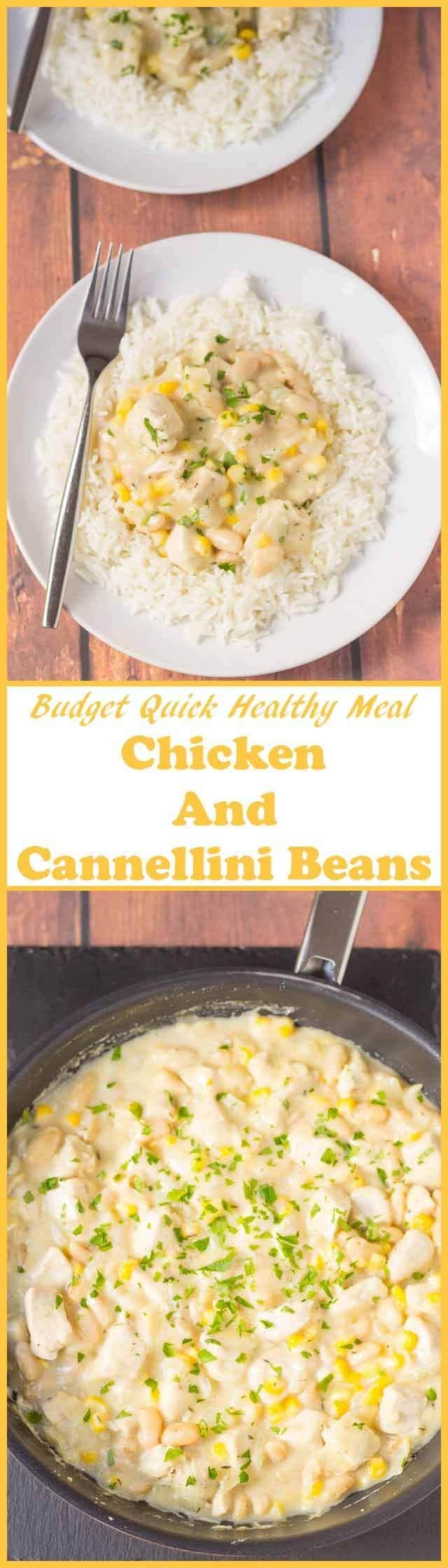 Chicken and cannellini beans is a delicious quick healthy meal. Ready in under an hour and served with rice this one pan meal will be a hit with your family!