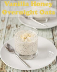 Vanilla honey overnight oats is such a delicious quick healthy breakfast. Top with your choice of nuts, fruit or granola for the perfect start to your day! #neilshealthymeals #recipe #breakfast #vanilla #honey #overnightoats #glutenfree #healthybreakfast