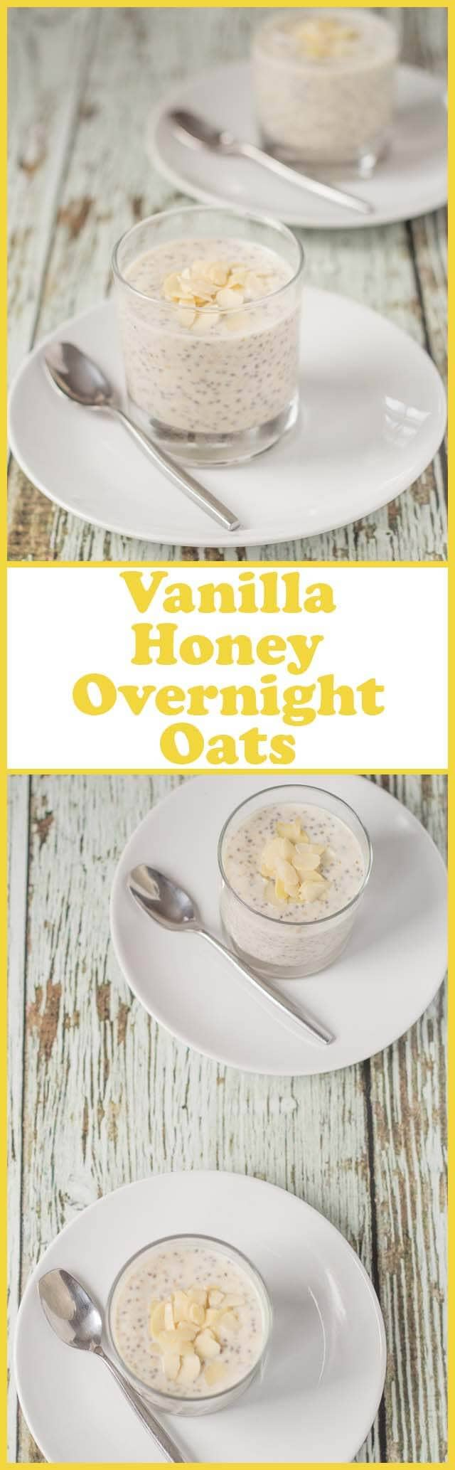 Vanilla honey overnight oats is such a delicious quick healthy breakfast. Top with your choice of nuts, fruit or granola for the perfect start to your day!