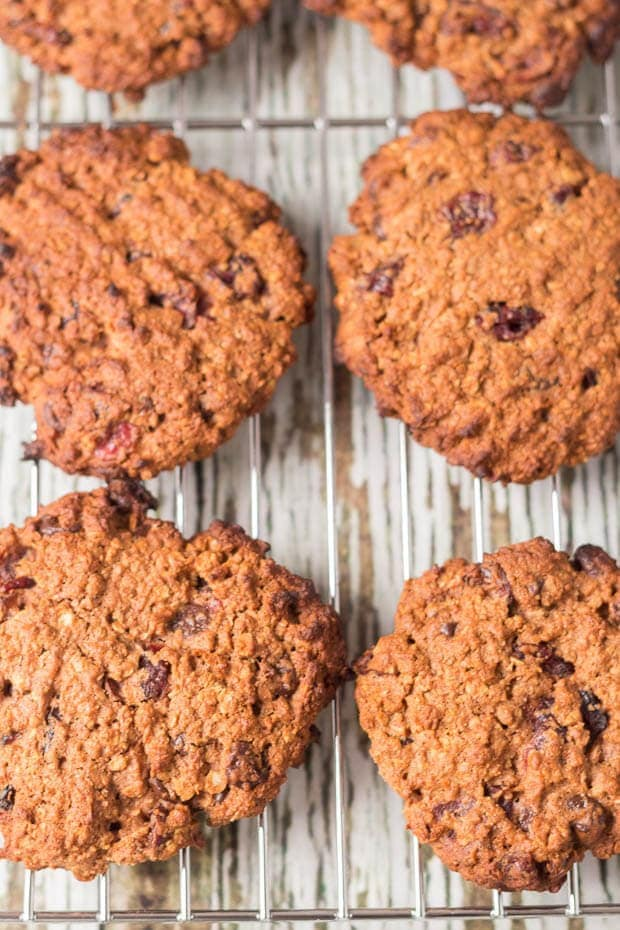 These wholemeal chocolate cranberry cookies are so delicious! Rich in chocolate taste, sweet with cranberries and with a soft crunch and chewy centre they're a much healthier bake than traditional cookies too!