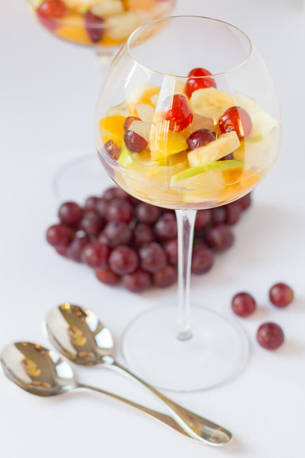 Boozy fruit salad is sure to add a little extra spice to that special occasion. This simple but delicious fruit salad has a secret ingredient in the syrup which makes the fruit sing!