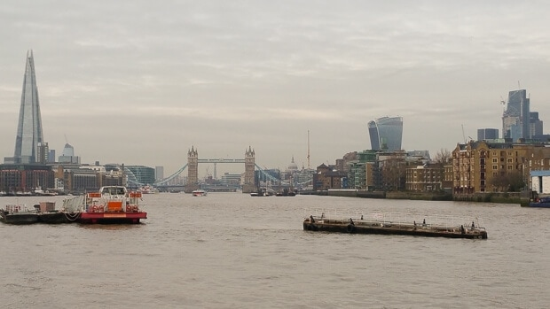 View of Thames and Shard from Jubilee Walk London