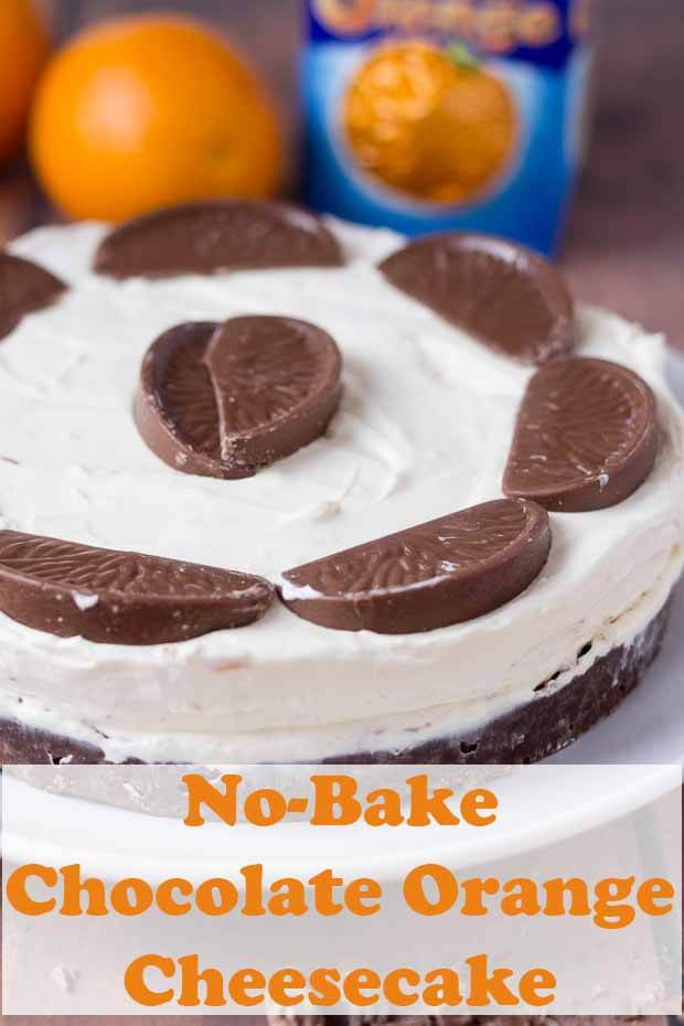 No bake chocolate orange cheesecake. Smooth andluxurious; delicious and indulgent but remarkably simple to make. This cheesecake is made with Terrys chocolate orange. It's absolutely perfect for a Christmas dessert or families dinner parties! #neilshealthymeals #recipe #terrys #chocolate #orange #cheesecake