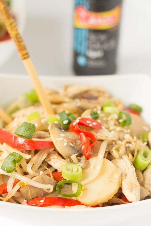 Turkey chow mein is a delicious quick healthy way to use up any leftover turkey from Thanksgiving or Christmas. Bring your turkey alive with this unique combination of Asian flavours!