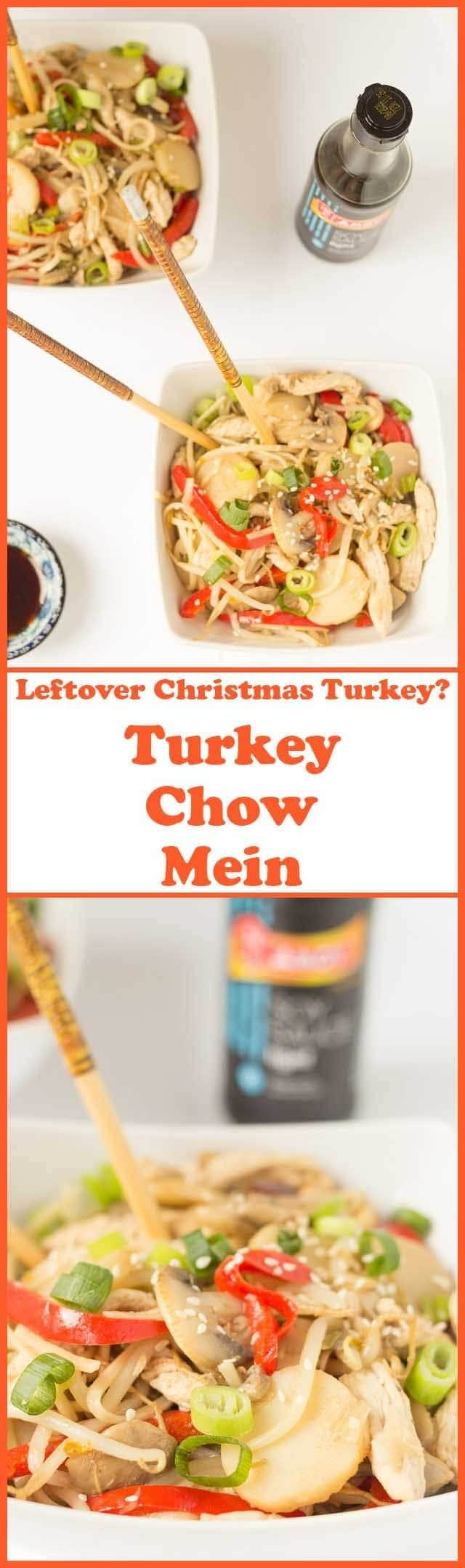 Turkey chow mein is a delicious quick healthy way to use up any leftover turkey from Thanksgiving or Christmas. Reinvent your turkey with this unique combination of Asian flavours!