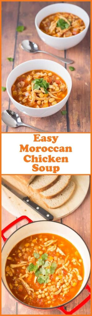Easy Moroccan chicken soup is a delicious hearty and full bodied soup made from the popular spices of Morocco. Thick and comforting this is an easy to make all in one quick healthy meal.
