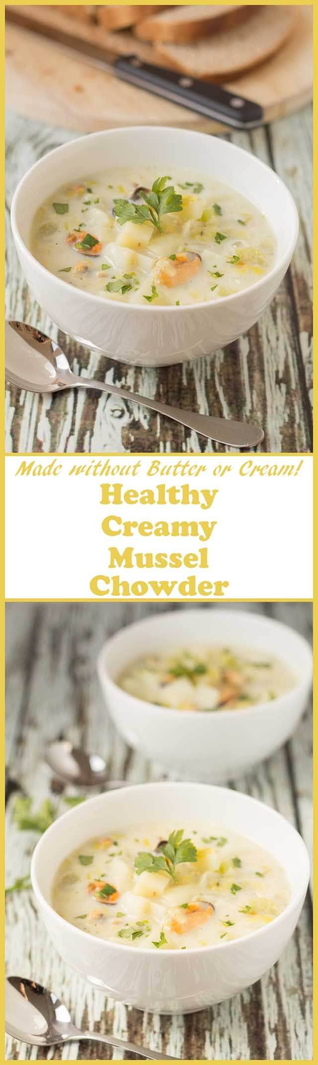 Healthy mussel chowder is a creamy delicious seafood chowder made without butter or cream. This thick and chunky seafood soup is one amazing budget quick healthy meal.