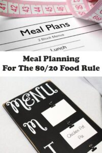 Meal plans document at top. Menu blackboard at bottom. Pin title text overlay in the middle.