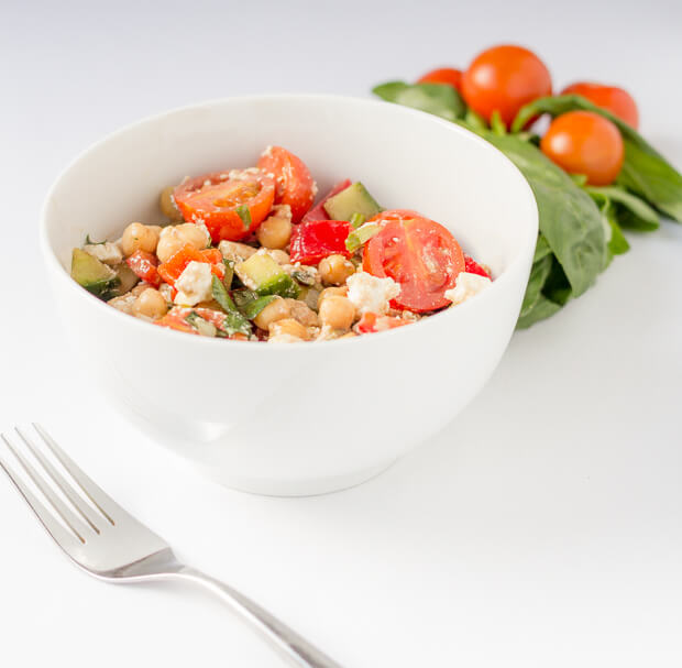 Mediterranean chickpea salad is an easy, budget and vibrant salad simply bursting with flavour. This is the perfect all year round salad to remind you of sunny days and warm climates even though it may not be the same outside!