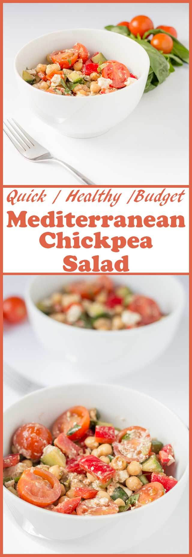 Mediterranean chickpea salad is an easy, budget and vibrant vegetarian salad simply bursting with flavour. This is the perfect all year round salad to remind you of sunny days and warm climates even though it may not be the same outside!