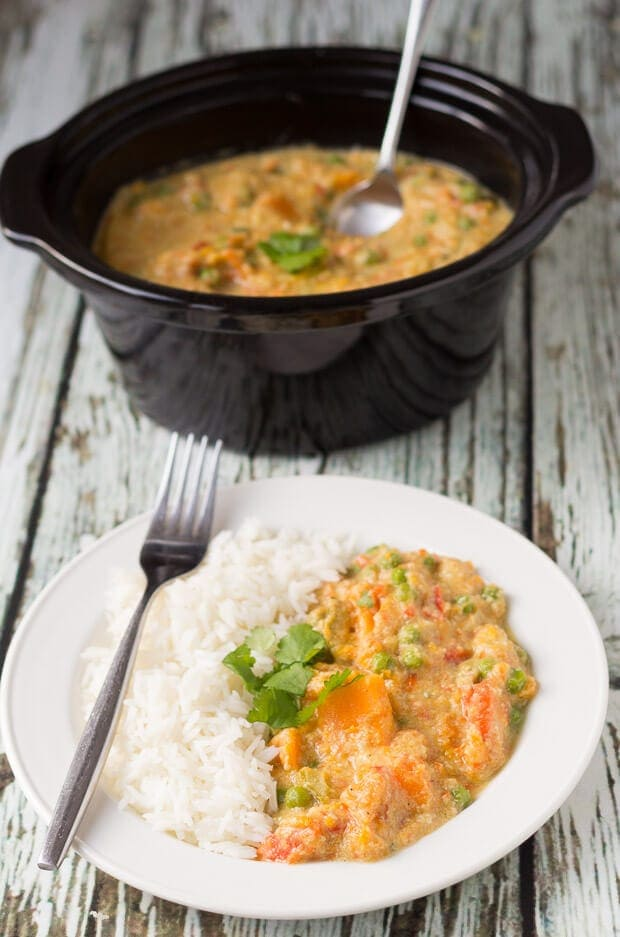 This slow cooker sweet potato and vegetable curry is just packed with flavour. It's easy to make, vegan, budget and perfect for cold weather. This delicious curry will soon become one of your go-to curry favourites!