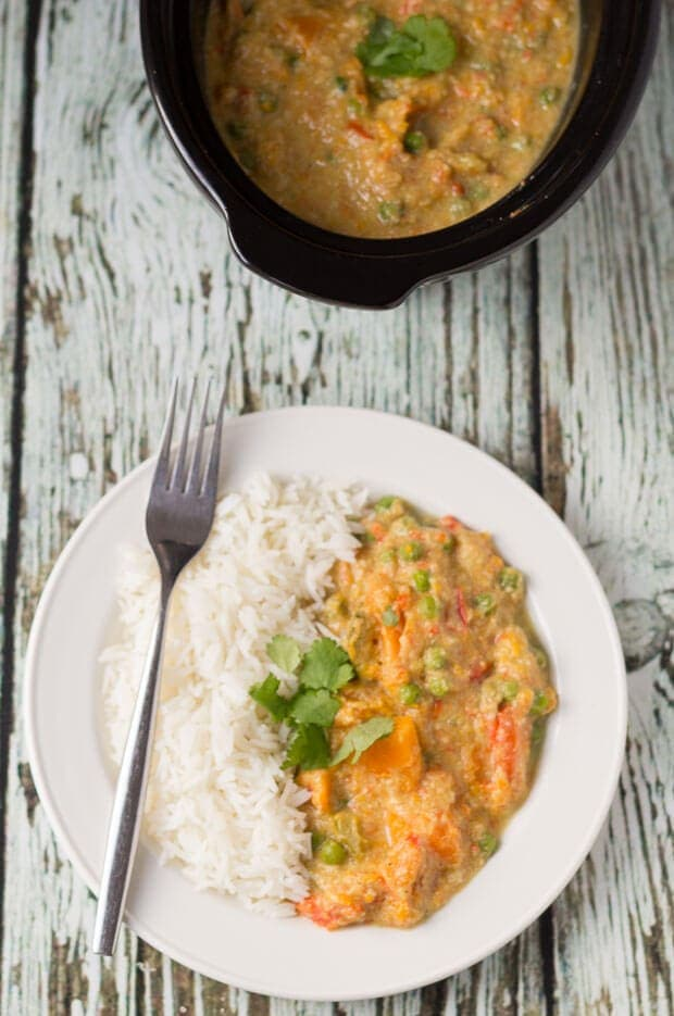 Slow Cooker Sweet Potato and Vegetable Curry
