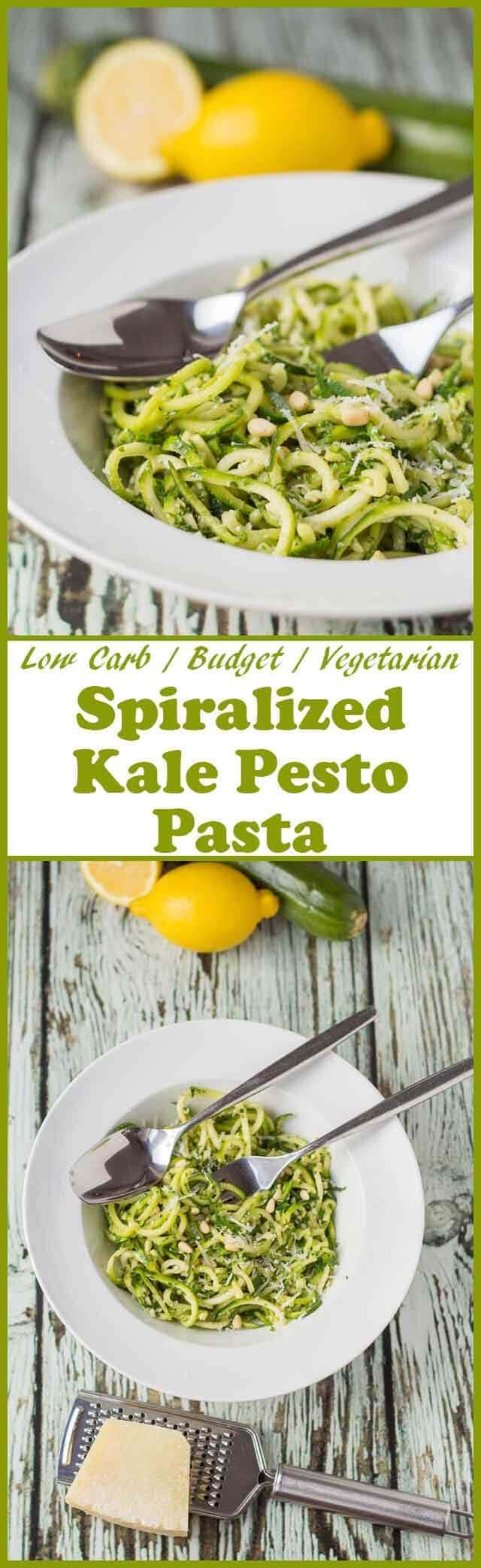 Spiralized kale pesto pasta is a delicious and easy 30 minute meal combining all the goodness of kale with spiralized courgettes. It's low carb, budget and vegetarian too!