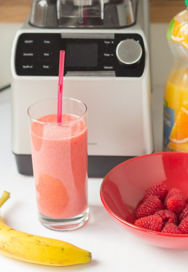 This banana raspberry orange power smoothie is not only packed with fresh banana, juicy raspberries and tangy orange juice but it's really simple to make. This perfect healthy vegan smoothie makes a refreshing breakfast and it's a great mid afternoon pick me up snack too!