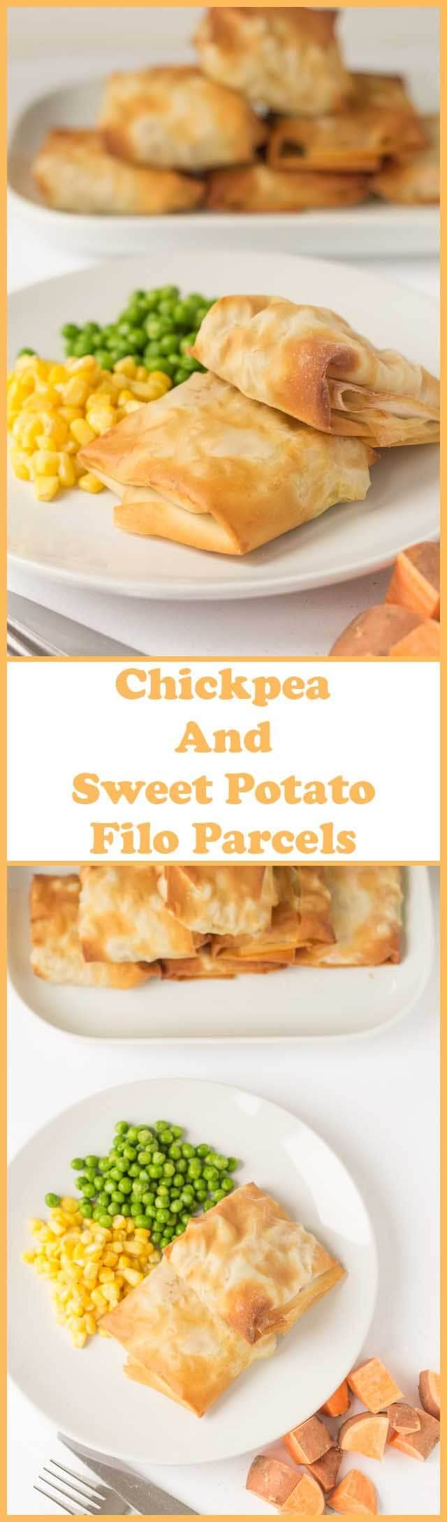Chickpea and sweet potato filo parcels are the ultimate quick healthy meal! With a delicious budget filling and a satisfying crunch this easy to make filo pastry recipe is just what you need as a lower fat healthier alternative to traditional pastry.
